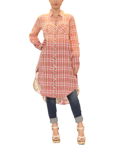Hi-Lo Plaid Tunic w/ Floral Back