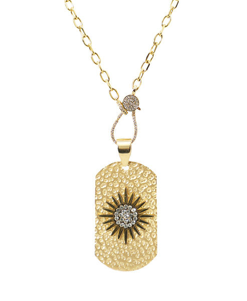 Zoom view for Hammered Dog Tag Necklace w/ Flower ONLINE EXCLUSIVE - Fox's