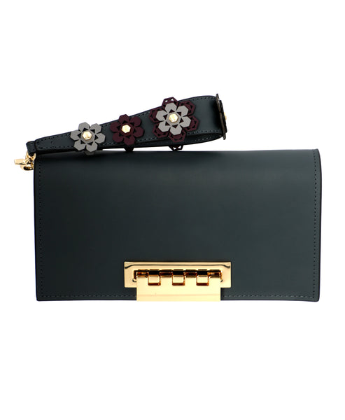 Zoom view for Leather Clutch w/ Floral Applique Wristlet