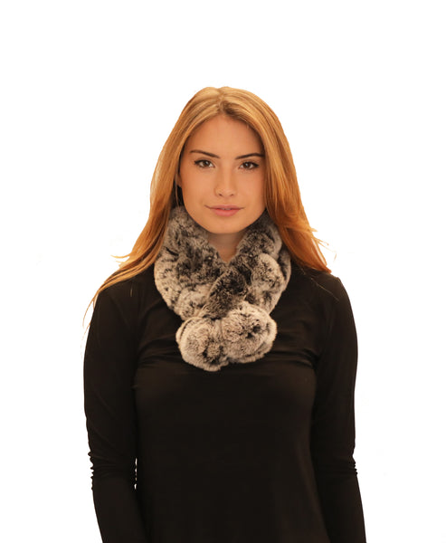 Rex Rabbit Fur Pull Thru Scarf w/ Pom-Pom - Fox's