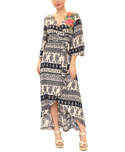Hi-Lo Printed Wrap Dress