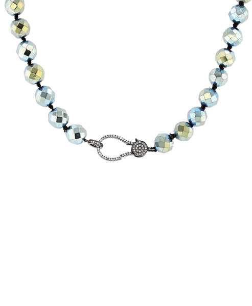 Zoom view for Hematite Beaded Necklace w/ CZ Accents
