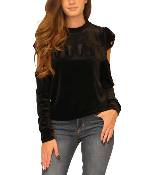 Cold Shoulder Velvet Top - Fox's