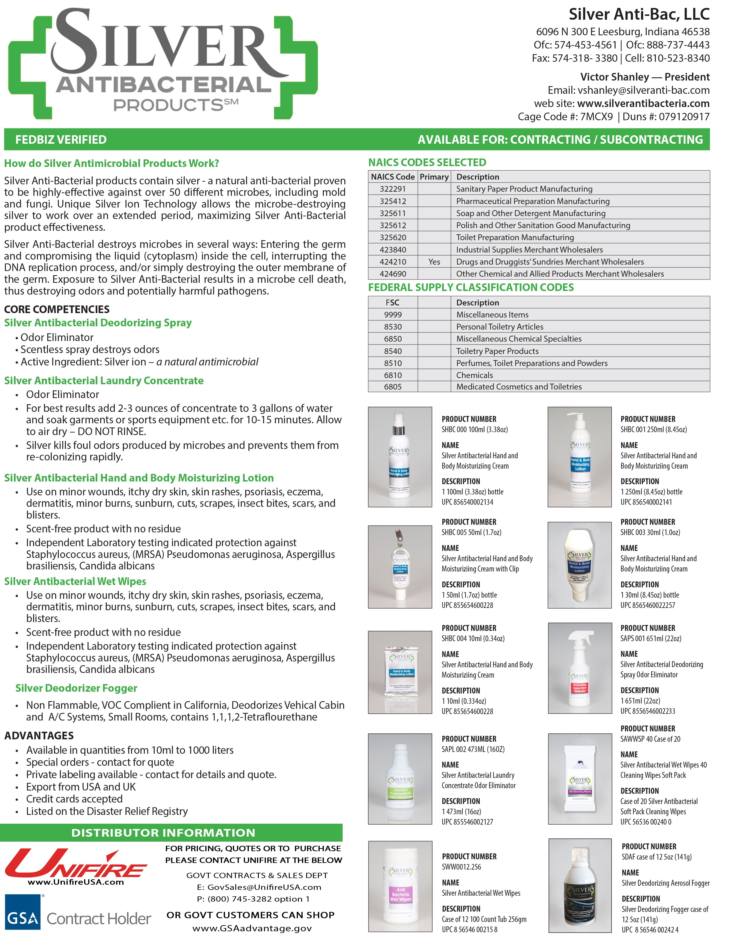SILVER ANTIBACTERIAL PRODUCT INFO