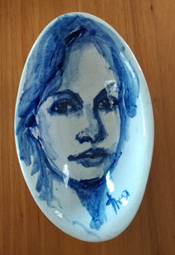 Oval bowl - face - cobalt blue