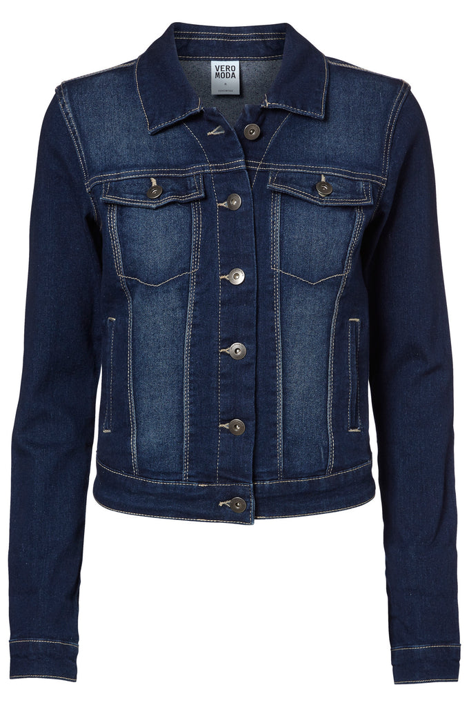 VMSOYA POCKET DENIM JACKET Dark Blue Denim