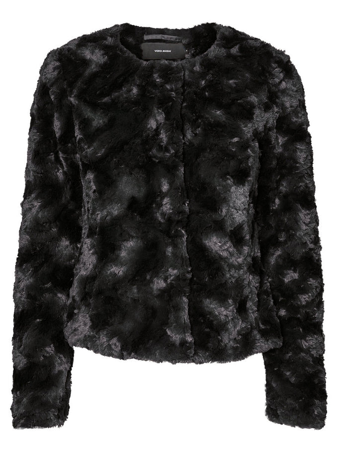 SHORT FAUX FUR JACKET BLACK BEAUTY