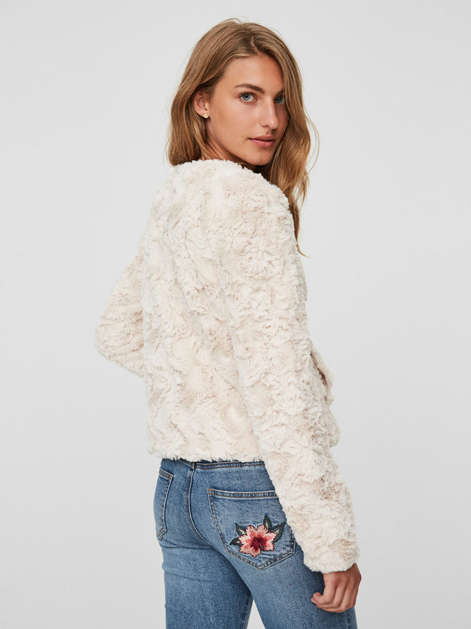 SHORT FAUX FUR JACKET OATMEAL