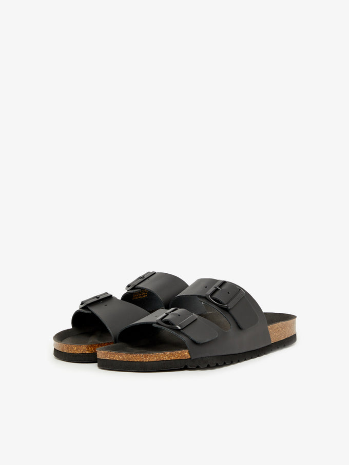 FINAL SALE – GENUINE SUEDE SANDALS WITH STRAPS BLACK