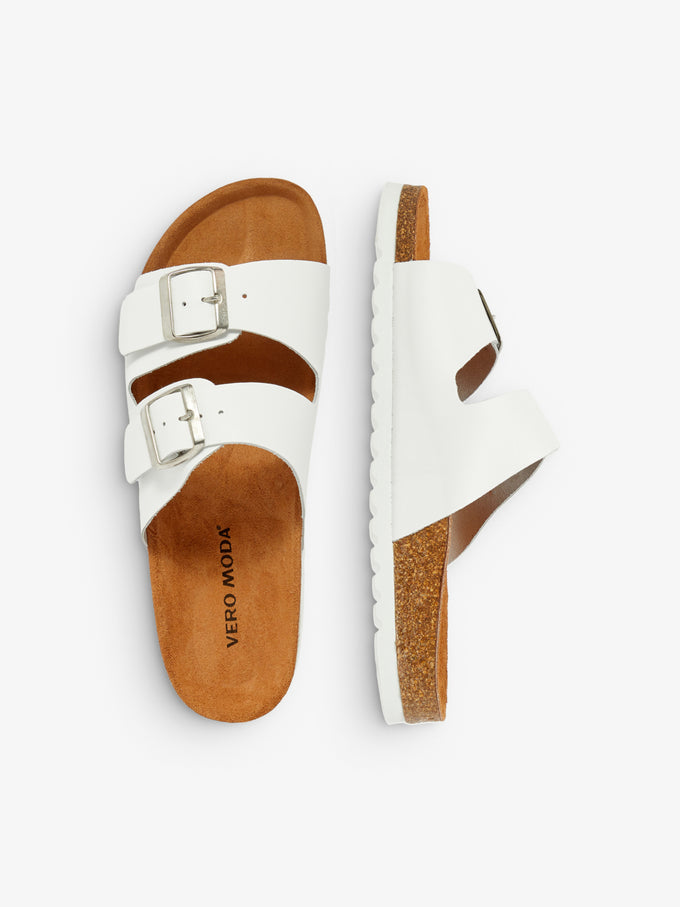 FINAL SALE – GENUINE SUEDE SANDALS WITH STRAPS BRIGHT WHITE