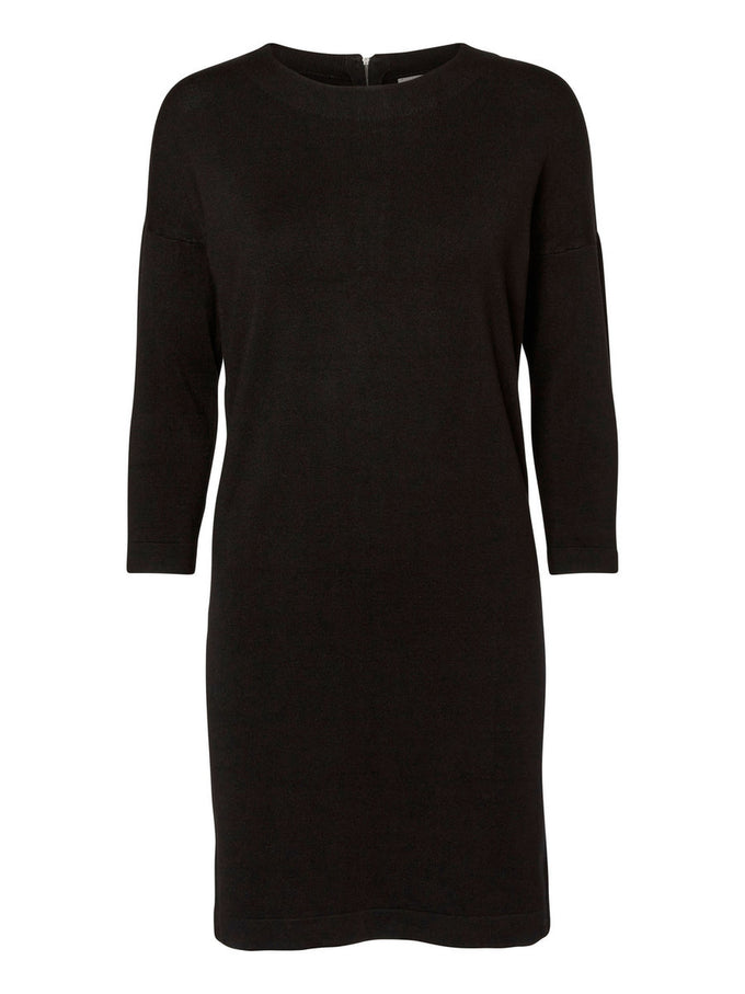 SHORT 3/4 SLEEVES SWEATER-DRESS BLACK