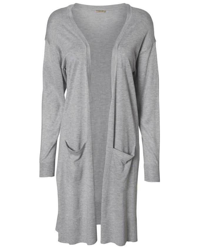 NMBECCA LONG CARDIGAN LIGHT GREY MELANGE