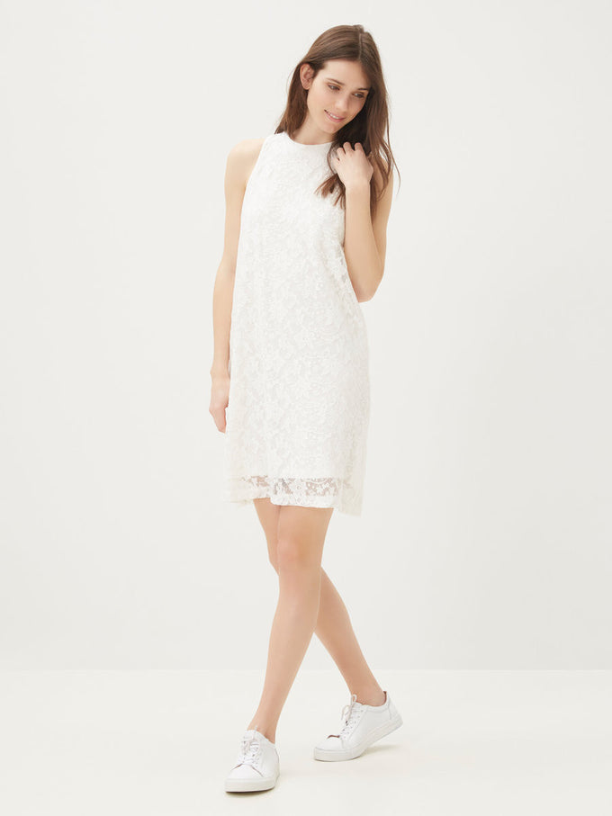 NMTRISHA LACE DRESS SNOW WHITE