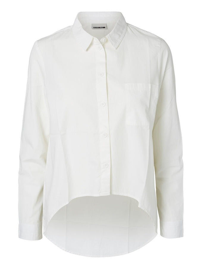 NMCANA HIGH-LOW SHIRT SNOW WHITE