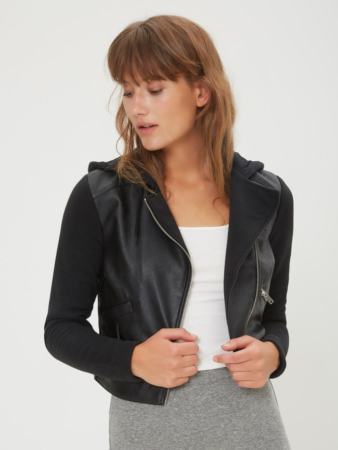 F-NMTROY FAUX-LEATHER JACKET BLACK