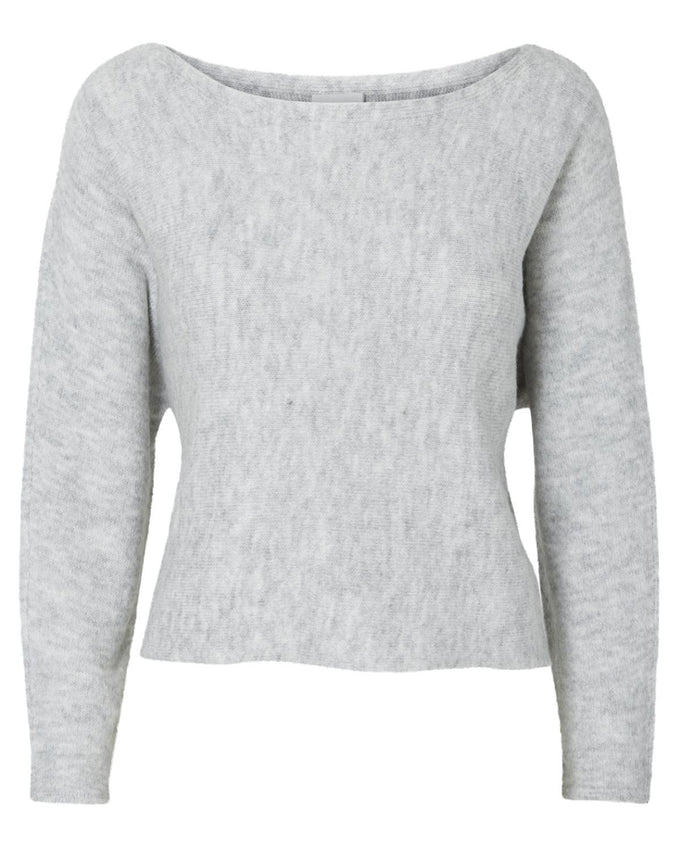 NMMILES SHORT SWEATER LIGHT GREY MELANGE