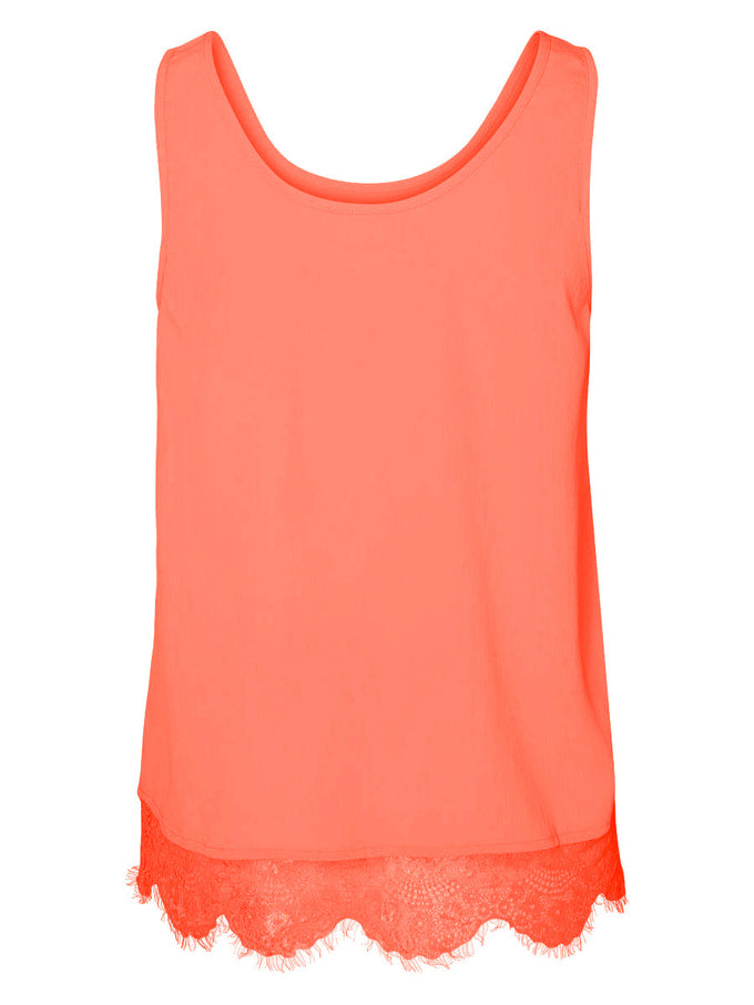 NMMENA SLEEVELESS TOP FIERY CORAL