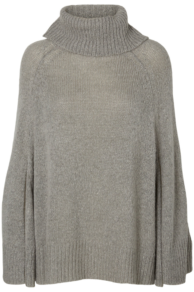 NMKAIN PONCHO LIGHT GREY MELANGE