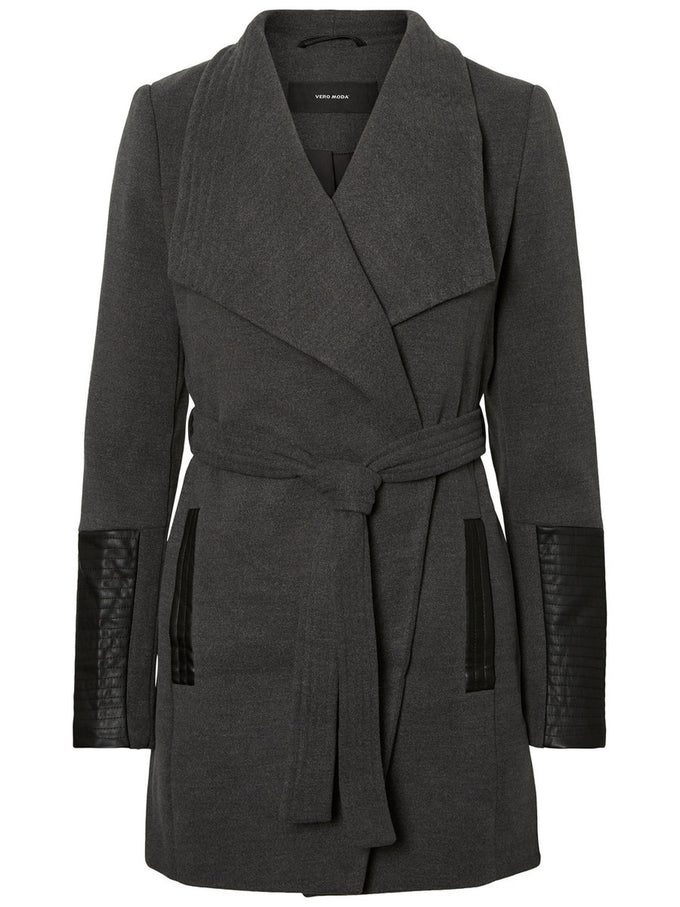 CITY JACKET WITH FAUX-LEATHER DETAILS DARK GREY MELANGE