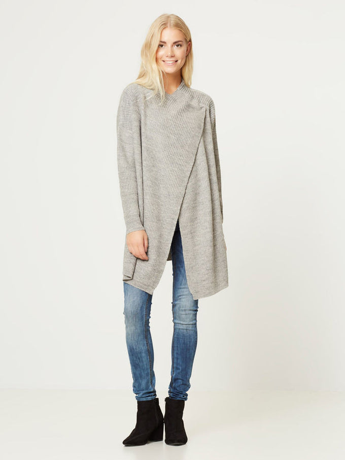NMSHAKE DRAPY CARDIGAN MEDIUM GREY MELANGE