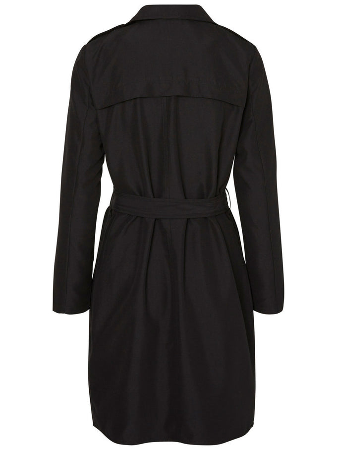 LONG WRAP COAT BLACK