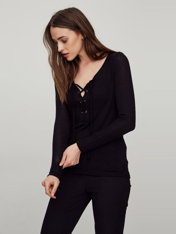 VMHONIE LACE UP TOP BLACK