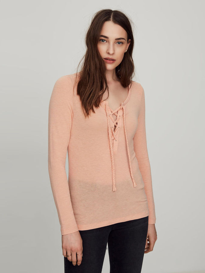 VMHONIE LACE UP TOP DUSTY CORAL