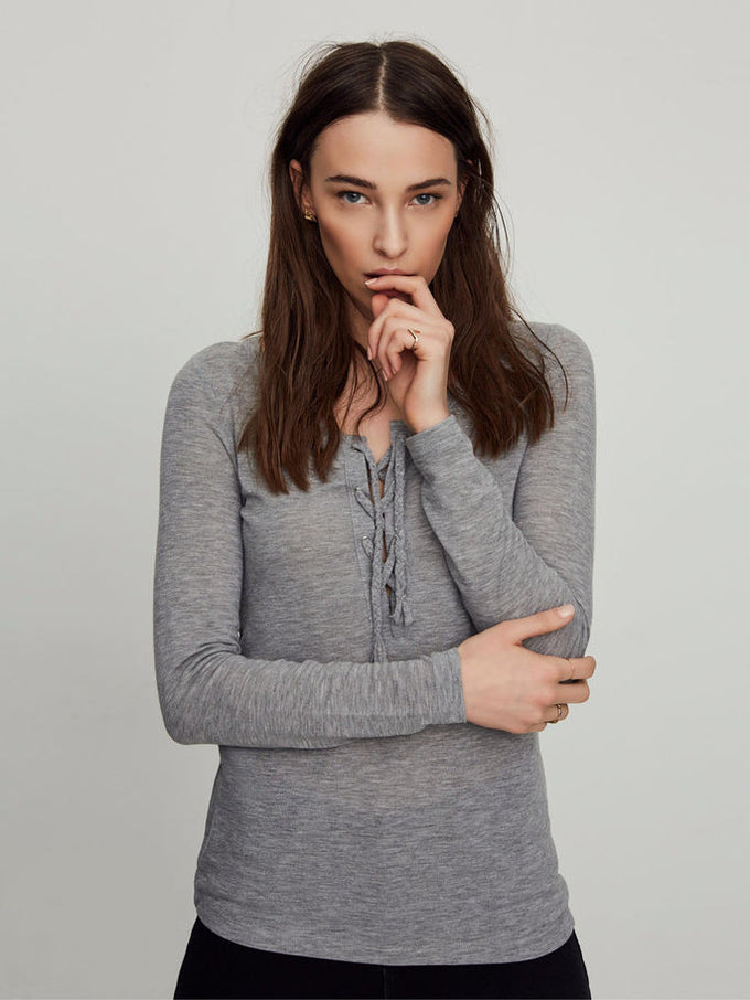 VMHONIE LACE UP TOP LIGHT GREY MELANGE