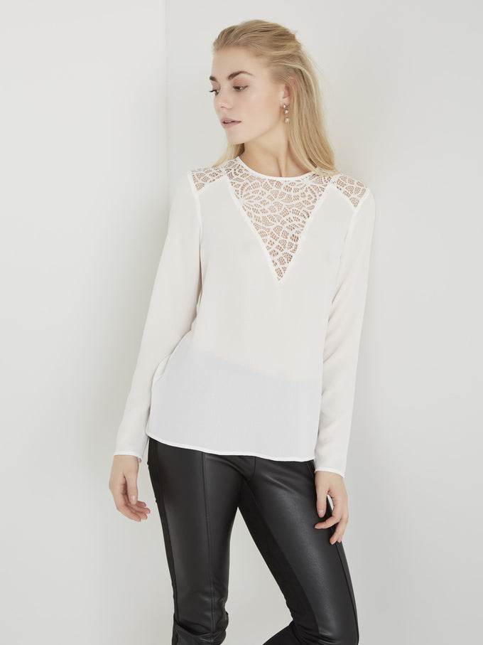 VMKELLY LACE BLOUSE SNOW WHITE