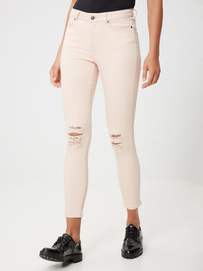 VMSEVEN KNEE CUT ANKLE JEANS SNOW WHITE