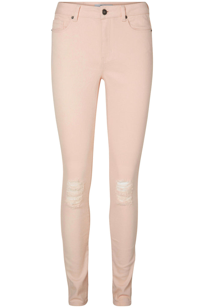 VMSEVEN KNEE CUT ANKLE JEANS CREAM TAN PINK
