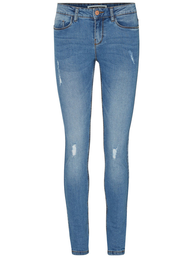 DISTRESSED SKINNY JEANS Medium Blue Denim