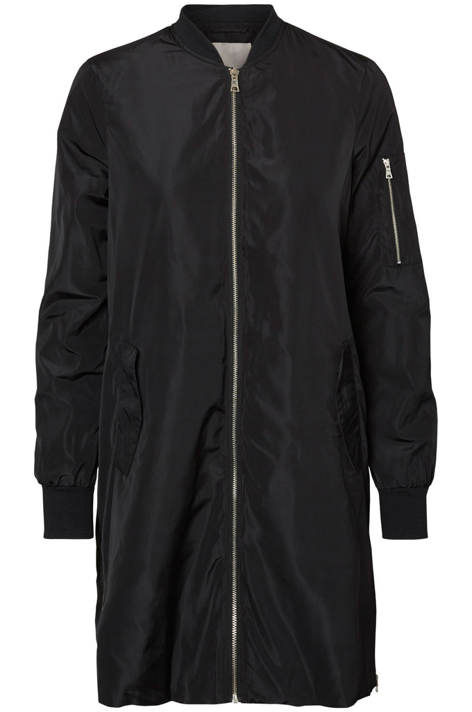 LONG SILKY BOMBER JACKET BLACK BEAUTY