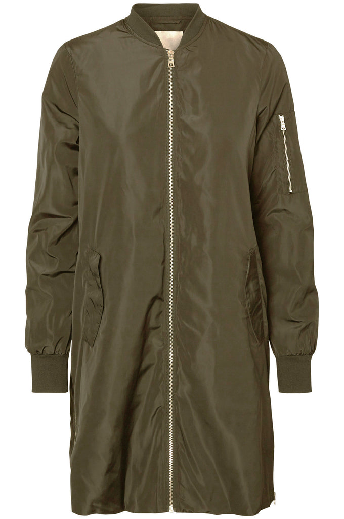 BLOUSON AVIATEUR LONG SATINÉ KAKI