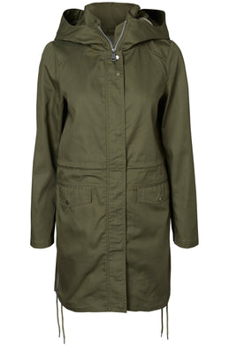 LONG LIGHT PARKA WITH ZIPPER DETAILS