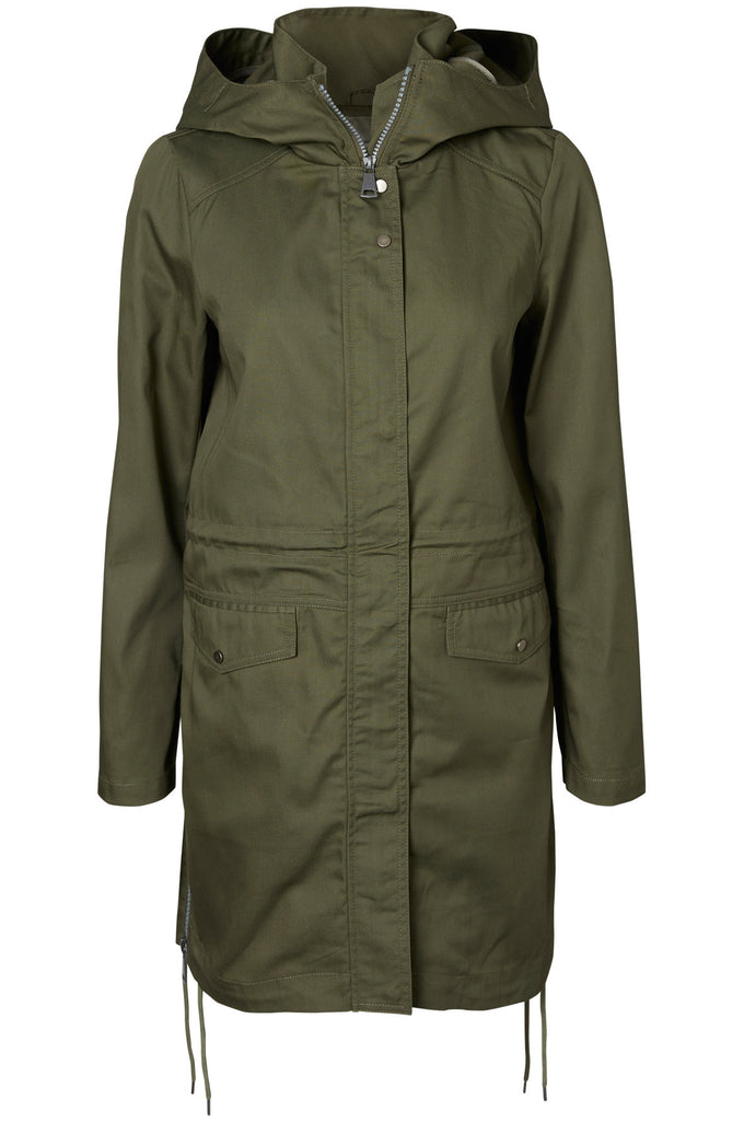 LONG LIGHT PARKA WITH ZIPPER DETAILS IVY GREEN
