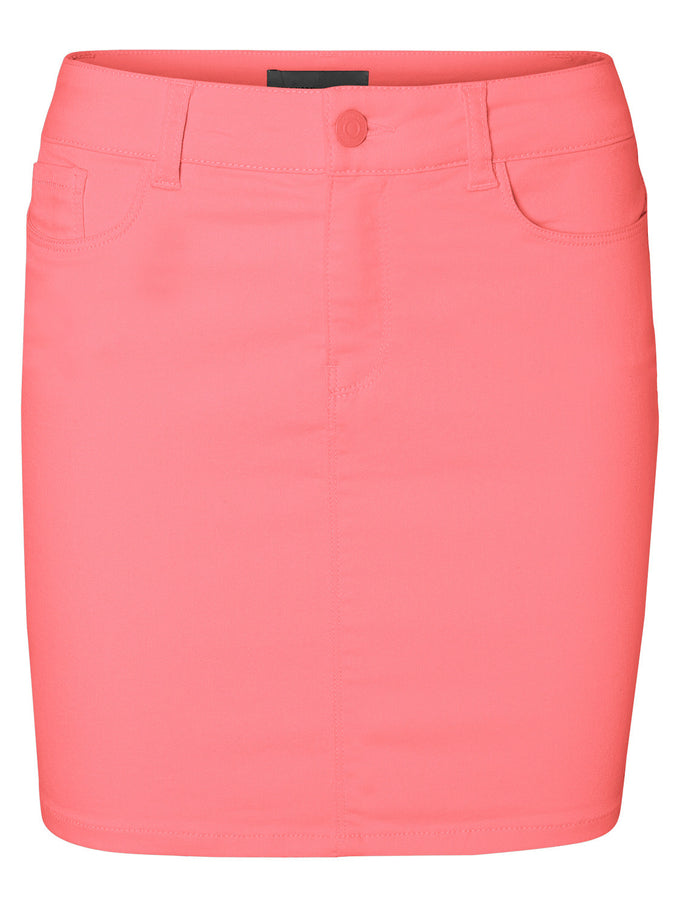 SHORT DENIM SKIRT CALYPSO CORAL