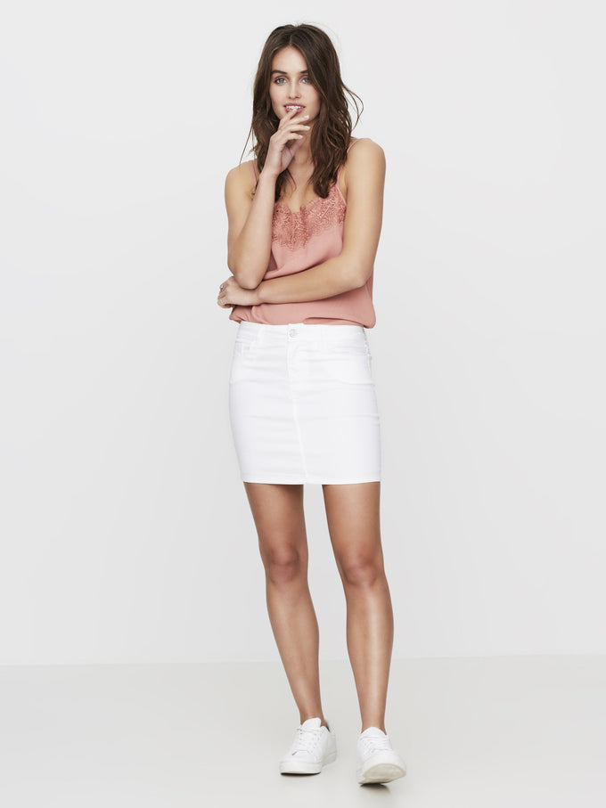 SHORT DENIM SKIRT BRIGHT WHITE