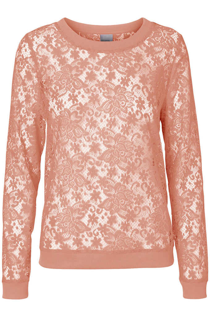 VMAMAZE LACE TOP DUSTY CORAL