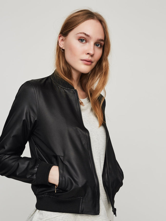 NMSHINY BOMBER JACKET Black