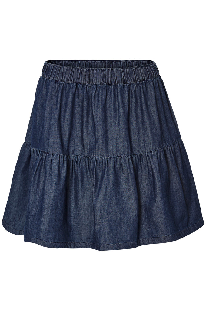 CHAMBRAY SHORT SKIRT DARK BLUE DENIM