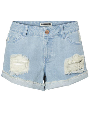 LIGHT DISTRESSED DENIM SHORTS