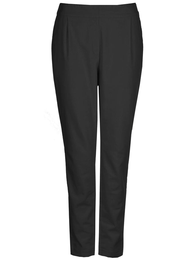 LINEN-BLEND ANKLE PANTS BLACK