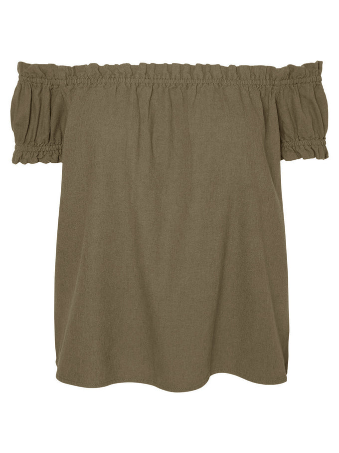 LINEN-BLEND OFF-THE-SHOULDER BLOUSE IVY GREEN