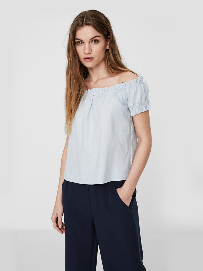 LINEN-BLEND OFF-THE-SHOULDER BLOUSE OATMEAL PATTERN