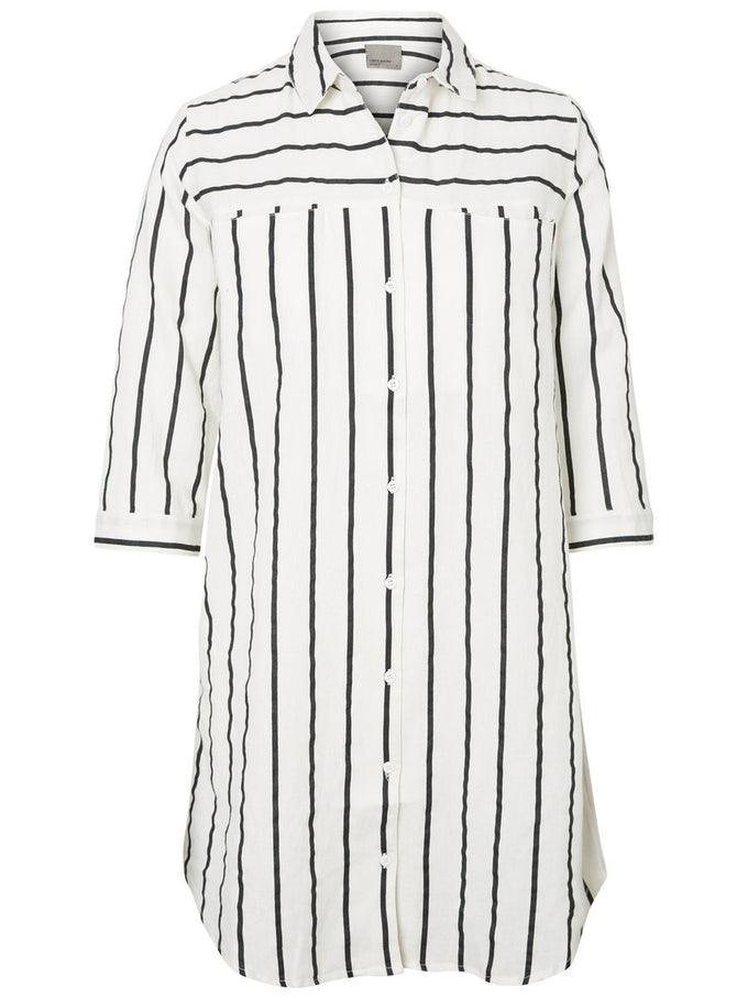 LINEN-BLEND LONG STRIPED SHIRT SNOW WHITE BLACK