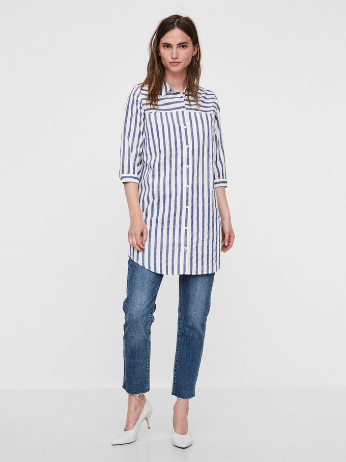 LINEN-BLEND LONG STRIPED SHIRT SNOW WHITE BLUE