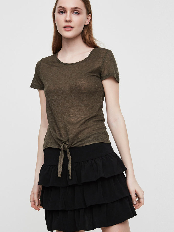 KNOT DETAIL LINEN T-SHIRT IVY GREEN