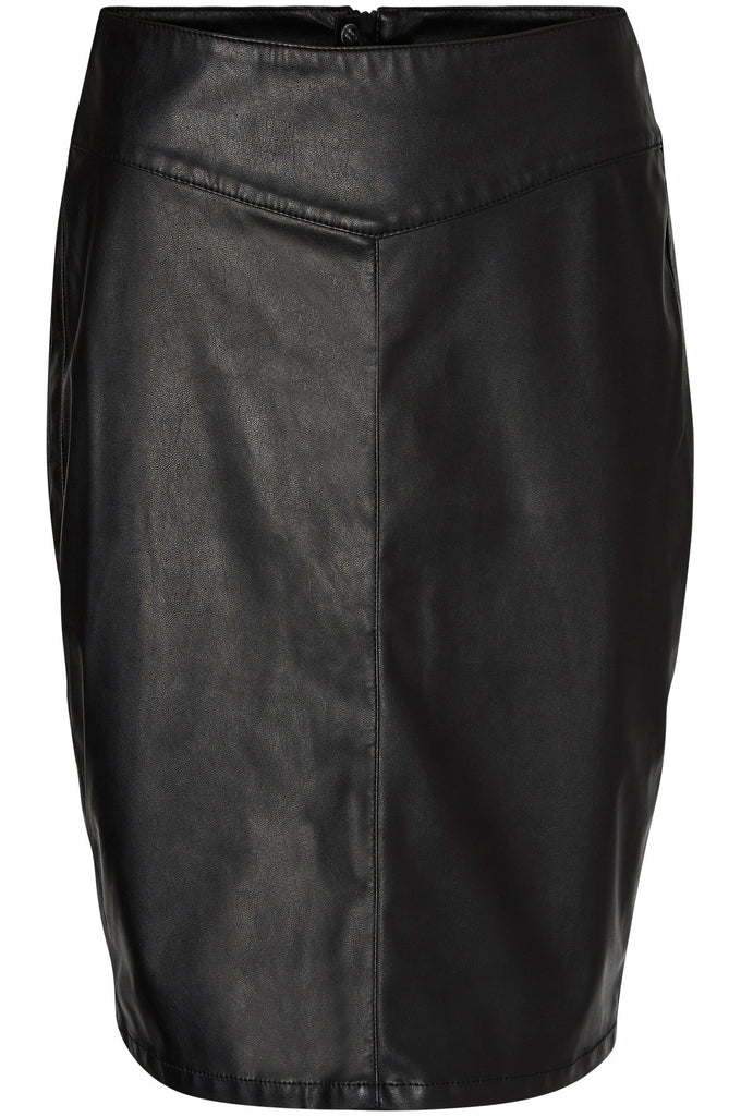 F-VMSAM FAUX-LEATHER SKIRT BLACK