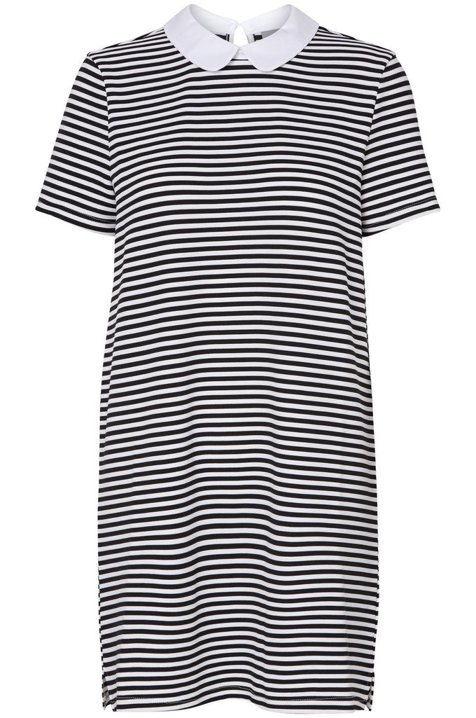 STRIPED MINI DRESS BLACK